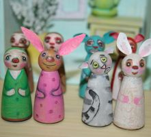 More wooden dolls by inkcat