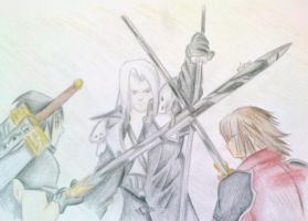 final fantasy 7 - Fight by Poo-Fly