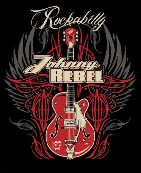 Johnny Rebel T-Shirt Design Wing Guitar by russellink