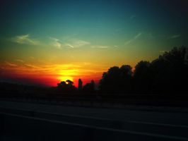 Autobahn Sunset by Kleepaa