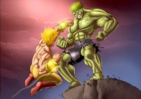 hulk vs redisigned broly by Rancez