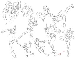 Space Girl Sketches by ZachRamirez