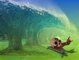 snail on skateboard by ICONcreations