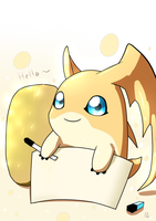 Chest of Sketches Corner:Patamon and a rock by LordGengar