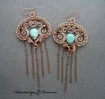 earrings with turquoise by nastya-iv83