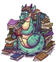 Librarian dragon by Kaaziel