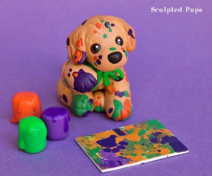 Artistic Golden Retriever pup by SculptedPups