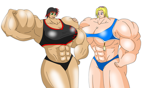 Sakaki x Lauren muscle by GRYPHON-POWERFULL