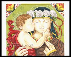 Mary and Christ Child Kiss by natamon