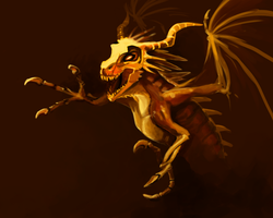 Orange Bony Dragon Thing by Pseudolonewolf