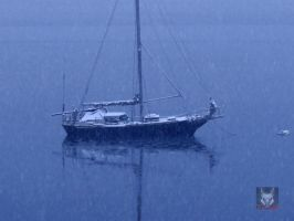 Stormy Sailboat by wolfwings1