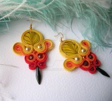 Feel the fire burnin - soutache earrings by Stszala