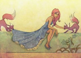 The girl and the foxes by Celiarts