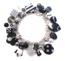 Black and white charm bracelet by fairy-cakes