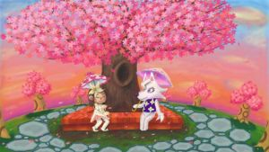 Underneath the Cherry Trees by LunarHalo24