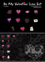 Be My Valentine Comp Icon Set by KatiBear