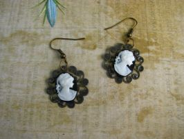 Steampunk Cameo Earrings on Filigree by bcainspirations