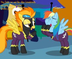 Spitfire and Rainbow dash go tricker treating by Spitshy