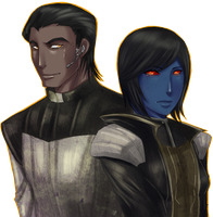 SWTOR Commission: Shira and Vindicare by Hallowrook