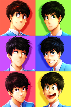 Six Same Faces by Pozapple