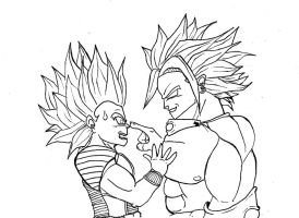 Broly facing Kaoly by ThitaniumPrince