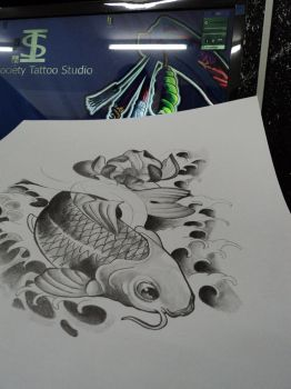 Black and gray Koi fish Study by Willx03
