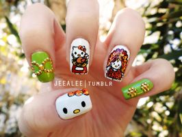 Hello Kitty Thanksgiving Nails by jeealee