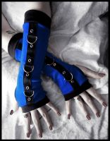 Shock Wave Gothic Unisex Bondage Arm Warmers by ZenAndCoffee