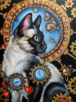Steampunk cat by oliecannoligriffard