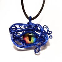 Blue Wire Wrap Rainbow Glass Dragon Eye Pendant by Create-A-Pendant
