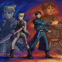Roy and Riza - Battleground by artistmage