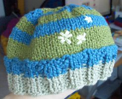 Striped embroidered baby hat by riizu