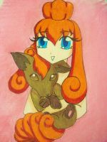 A Trainer and her Vulpix by babygirl510