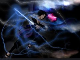 Sasuke Chidori Nagashi and eternal mangekyo V2 by venti-bucks