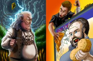 ERB Fan art: Ben Franklin Vs Billy Mays by SemajZ