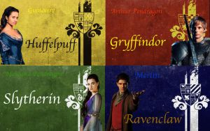 Merlin-Hogwarts Founders by KatePendragon