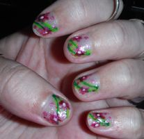 Pink flower nails 2 by Amazinadrielle