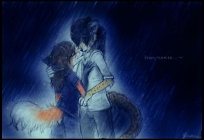 kissing in the rain :3 by Sharley102