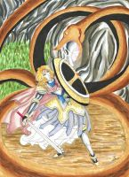The Princess Battling the Serpent by MannaKana