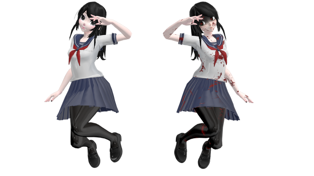 MMD Ayano / Yandere-chan + DL by Chibi-Snorlax