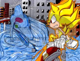 Super Sonic Vs. Chaos by NinjaHaku21