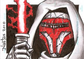 Star Wars: Revan Sketchcard by ElfSong-Mat