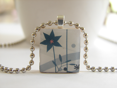 Blue Flower Scrabble Pendent by PastryStitches