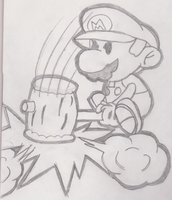 Paper Mario with hammer by SuperNess1000