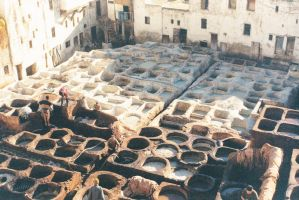 Wells for tanning in Fez Morocco by slingeraar