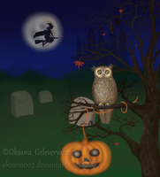 HALLOWEEN OWL - Screenshot from live wallpaper by Oksana007