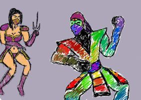 DSC mileena and chameleon by TheWiseWeirdProphet