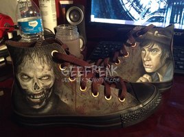 TWD: Carl/Zombie Converse by GeeFreak