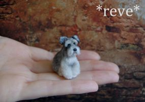 OOAK Handmade Miniature Schnauzer Dog Sculpture by ReveMiniatures