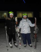 With sister on the ski track by Philosopher-Vinni